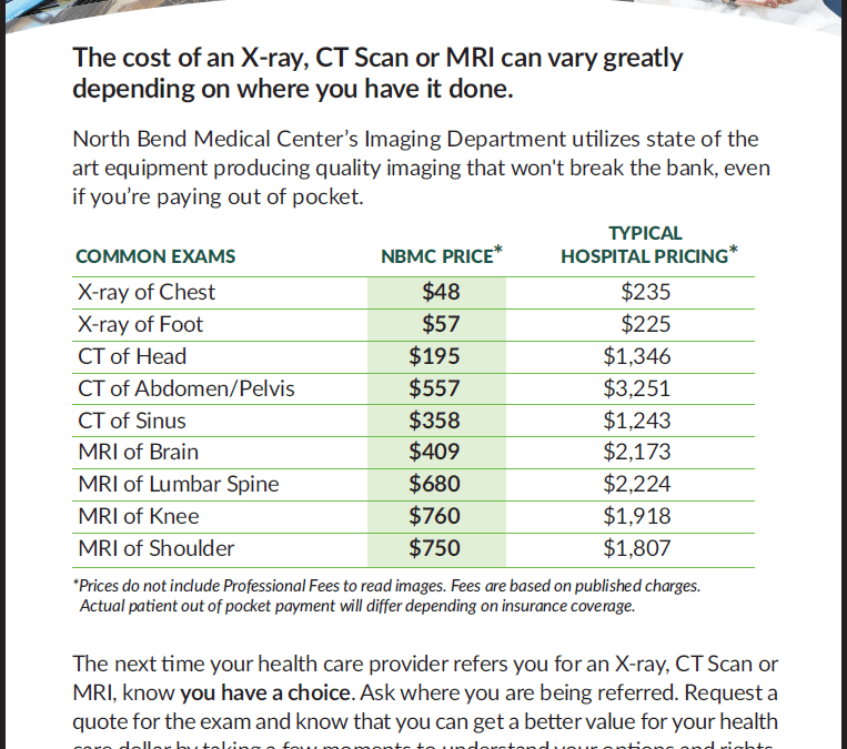Low cost of an X-ray, CT Scan or MRI