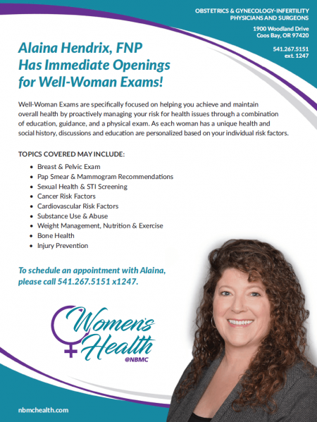 Immediate Openings for Well-Woman Exams